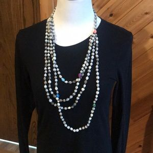 Noonday Grey purple blue green bead necklace